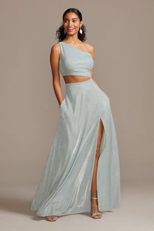 Iridescent Glitter One Shoulder Gown with Cutout