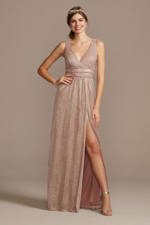 Metallic A-Line Gown with Beaded Waist Bands