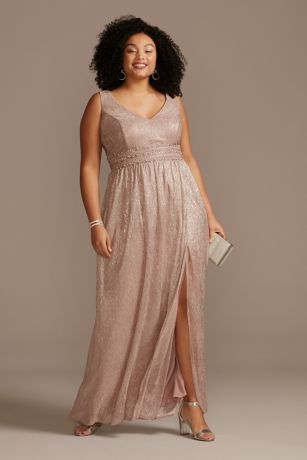Metallic A-Line Plus Size Gown with Beaded Bands