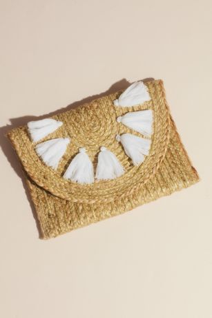 Woven Jute Envelope Clutch with Tassels