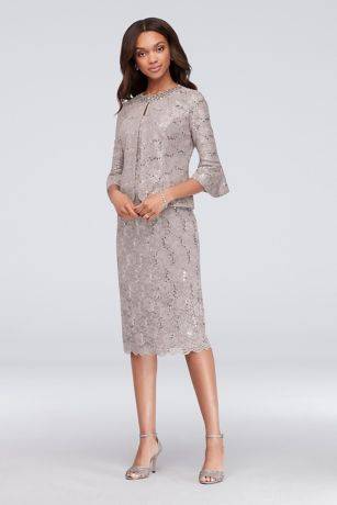 Sequin Lace Jacket Dress with Beaded Collar
