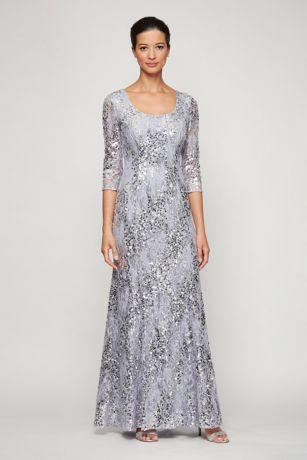 Long Mermaid/ Trumpet 3/4 Sleeves Dress - Alex Evenings