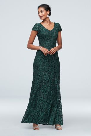 Long Mermaid/Trumpet Cap Sleeves Dress - Alex Evenings