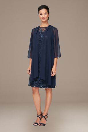 Short Elbow Sleeves Dress - Alex Evenings