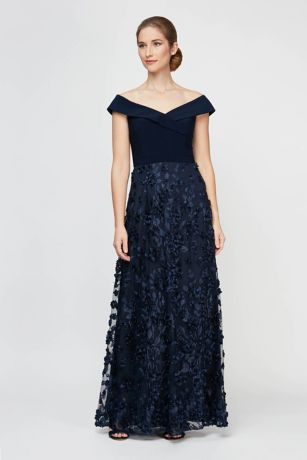 Long Ballgown Cap Sleeves Dress - Alex Evenings