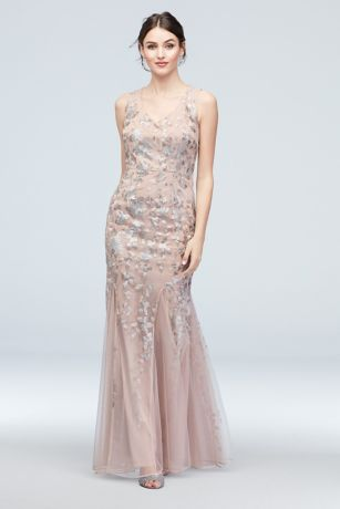 Embroidered Sequin Flower V-Neck Tulle Gown