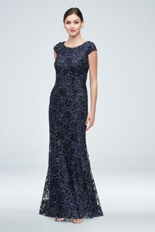 Sequin Floral Lace Overlay Cap Sleeve Gown