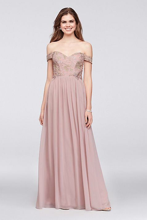 Off-the-Shoulder Lace and Chiffon Corset Gown   David\'s Bridal