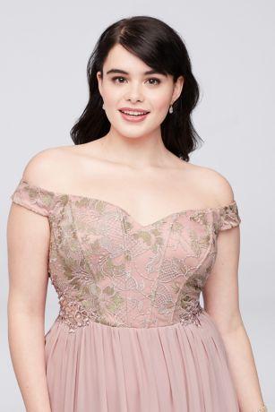 offtheshoulder lace corset plus size gown  david's bridal