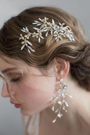 Opal Crystal Fern Branch Hair Clip