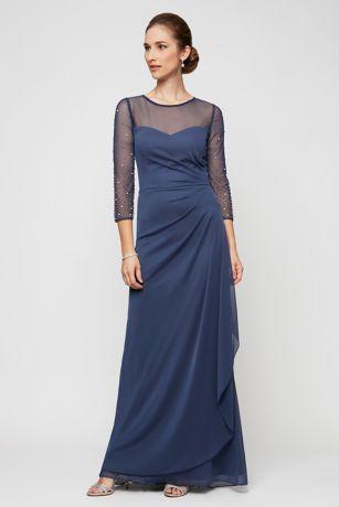 Long Sheath Elbow Sleeves Dress - Alex Evenings