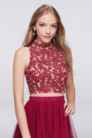 embroidered halter crop top and tiered skirt set davids