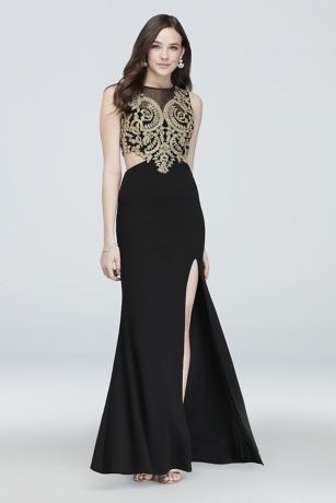 Illusion Embellished Brocade Gown with Cutouts