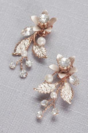 Jeweled Brushed Metal Flower Earrings