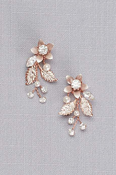 Jeweled Brushed Metal Flower Earrings