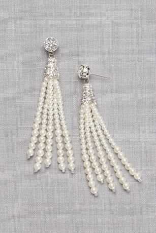 Crystal Solitaire and Pearl Tassel Earrings