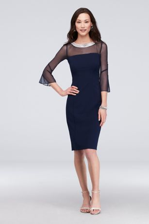 Short Sheath Long Sleeves Dress - Alex Evenings