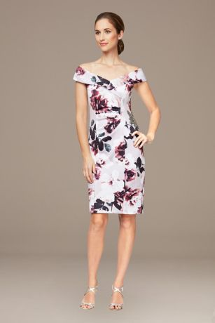 Short Sheath Off the Shoulder Dress - Alex Evenings