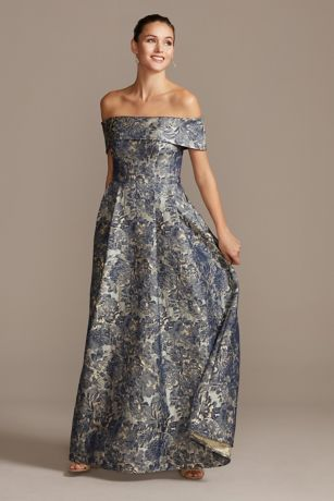 Long Ballgown Off the Shoulder Dress - Alex Evenings