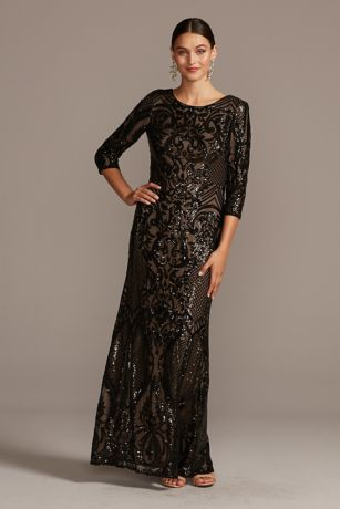 Long Mermaid/Trumpet 3/4 Sleeves Dress - Alex Evenings