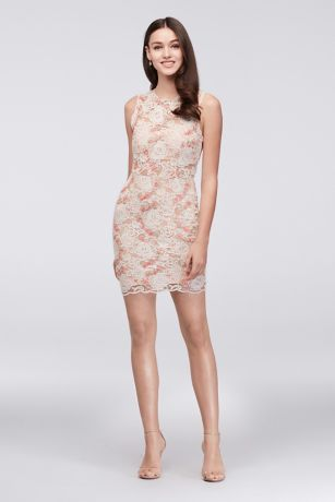 Illusion Lace Dress with Blush Floral Appliques