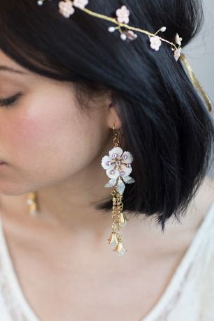 Dangling Dewdrop Enameled Earrings