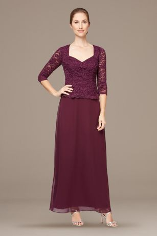 Long 3/4 Sleeves Dress - Alex Evenings