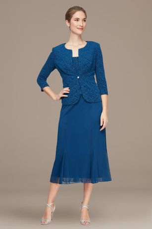 Tea Length 3/4 Sleeves Dress - Alex Evenings