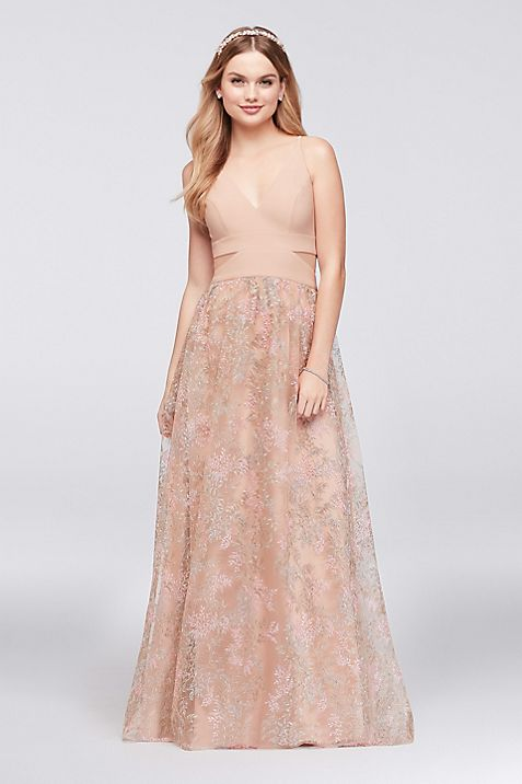 Jersey Ball Gown with Embroidered Mesh Skirt | David\'s Bridal