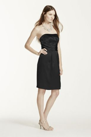 Short Charmeuse Dress with Ruched Waist and Pocket