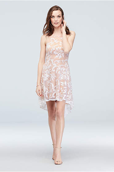 High-Neck Sequin Brocade Overlay High-Low Dress