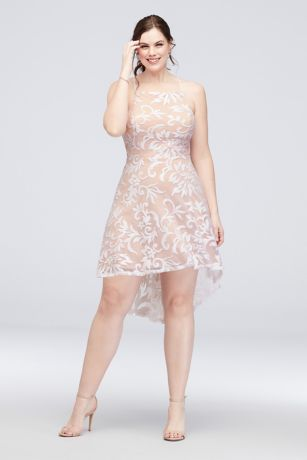 High-Neck Sequin Brocade  High-Low Plus Size Dress