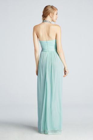 Beaded Halter Mesh Prom Dress with Ruched Detail | David's