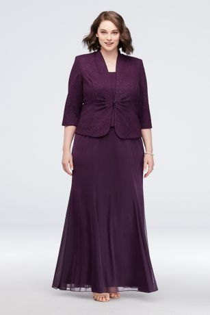 2bdabcef34d Chiffon and Shimmer Jacquard Plus Size Jacket Gown