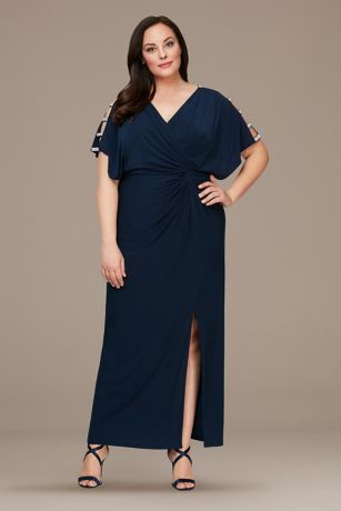 Long A-Line Short Sleeves Dress - Alex Evenings