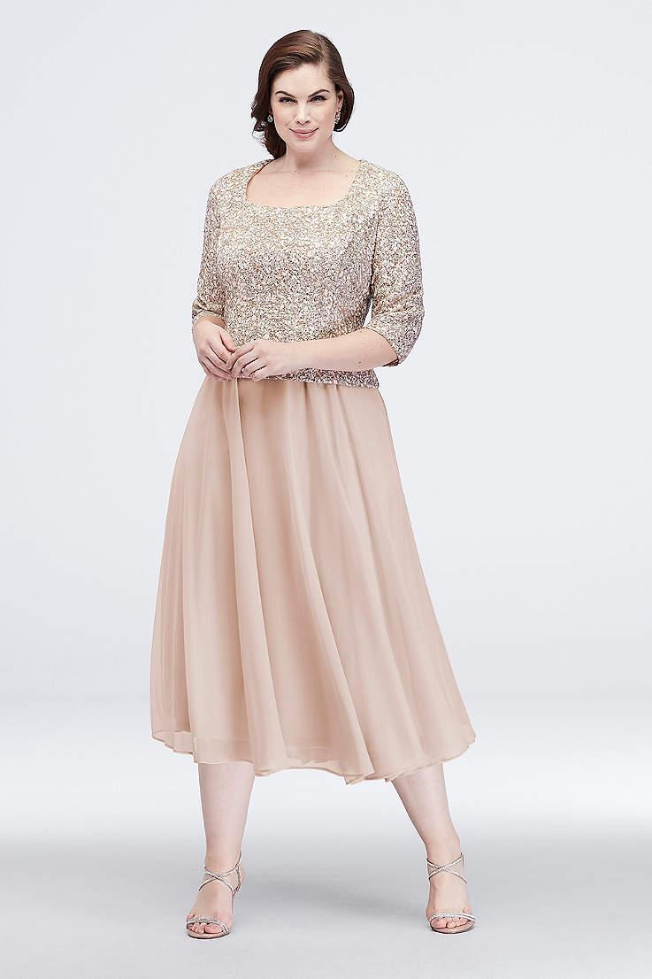 8273b9870d Tea Length A-Line 3 4 Sleeves Dress - Alex Evenings