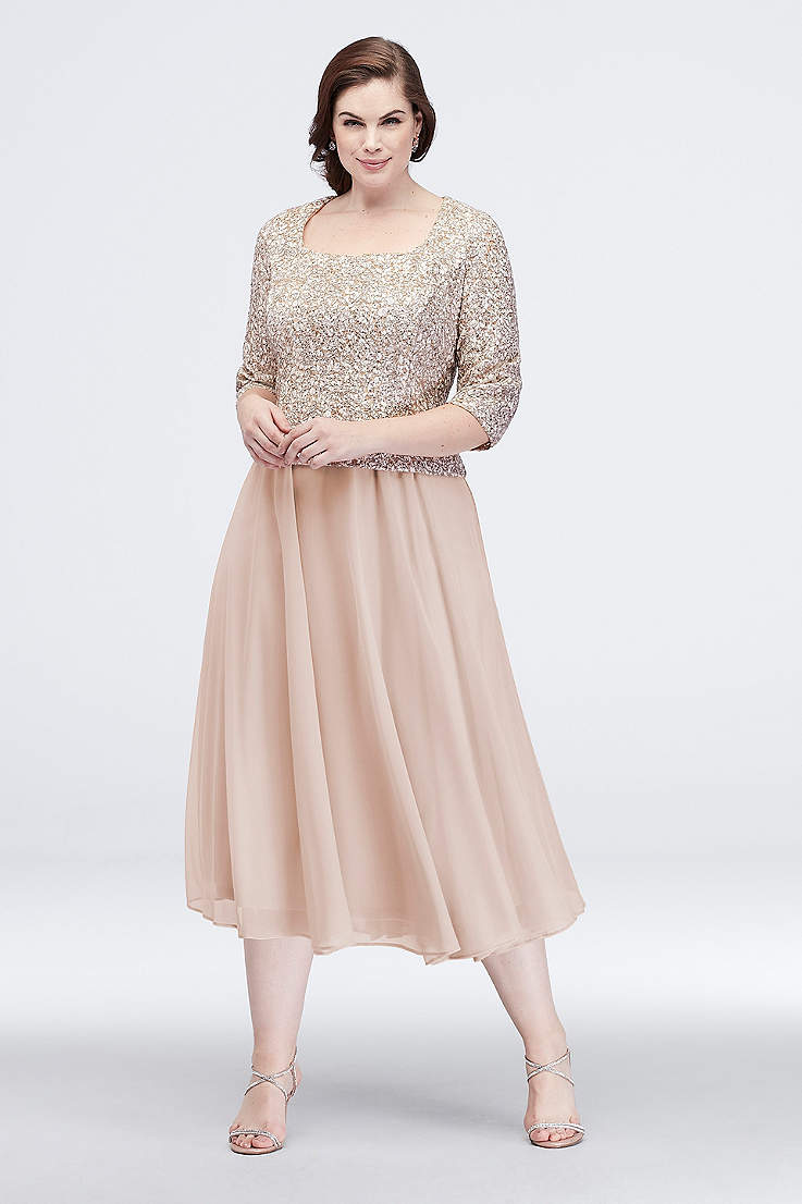 1fb464f798 Tea Length A-Line 3 4 Sleeves Dress - Alex Evenings