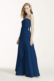 Satin Gown with Side Drape & Brooch