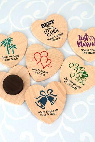 Personalized Heart Shaped Wooden Magnets