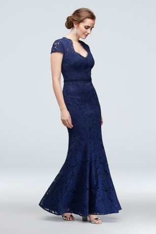 Cap Sleeve Lace Mermaid Gown with Notch Neckline