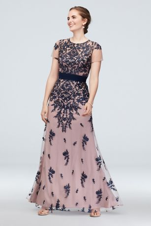 Cascading Floral Embroidery Mesh Gown with Belt