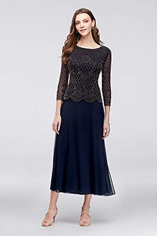 Tea Length A-Line 3/4 Sleeves Formal Dresses Dress - Xscape