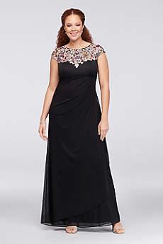 Floral Appliqued Plus Size Mesh Sheath Gown