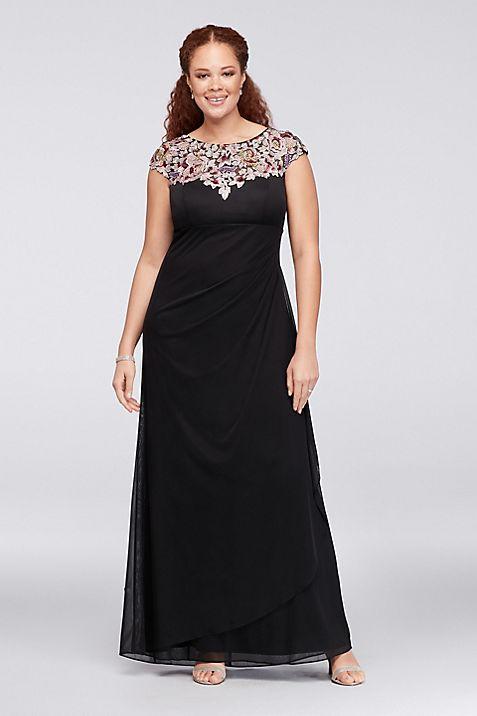 Floral Appliqued Plus Size Mesh Sheath Gown | David\'s Bridal