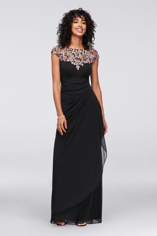 Floral Appliqued Sheath Gown with Ruched Skirt