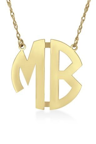 Personalized Monogram Circle Block Letter Necklace