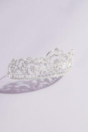 Crystal Filigree Heart Quinceanera Crown