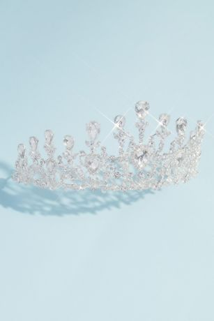 Pear Crystal Floral Quinceanera Crown