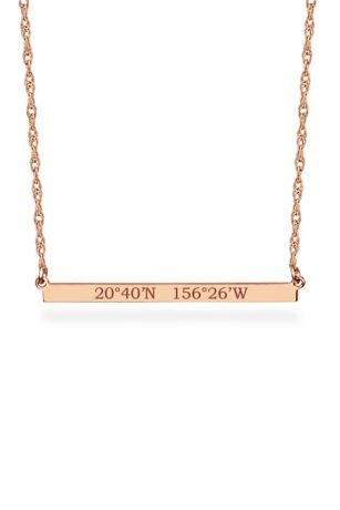 Personalized Bar Necklace with GPS Coordinates