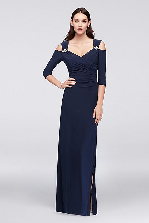 Cold Shoulder Jersey Gown with Crystal Accents | David\'s Bridal